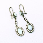 Silver Opal and Spinel Drop Earrings