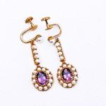 10-14K Amethyst and Pearl Drop Earrings