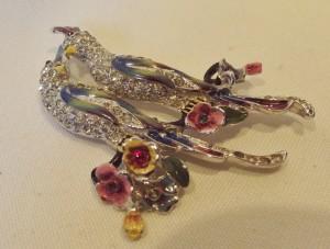 Vintage 'Coro' Enamel & Rhinestone Bird Brooch
