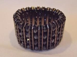 Vintage Metallic Black Faceted Bead Bracelet