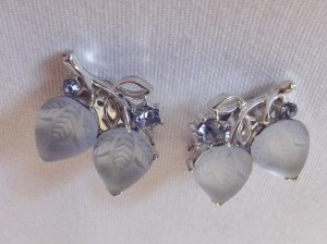 Vintage 'Lisner' Frosted Sky Blue Glass Earrings