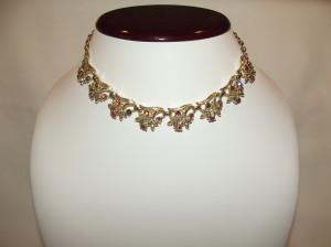 Vintage 'Coro' Floral Link Rhinestone Necklace