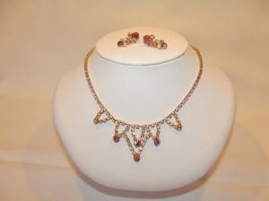 Vintage Pink & White Rhinestone Necklace/Earring Set