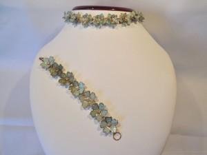 Vintage Turquoise & Rhinestone Bracelet/Necklace Set